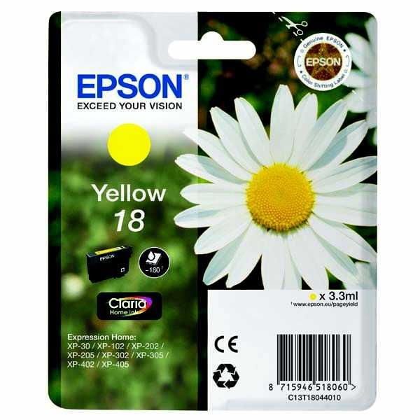 originální Epson T1804 yellow žlutá cartridge originální inkoustová náplň pro tiskárnu Epson Expression Home XP-402
