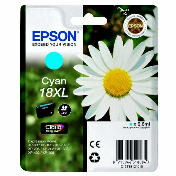 originální Epson T1812XL cyan modrá azurová cartridge originální inkoustová náplň pro tiskárnu Epson Expression Home XP-302