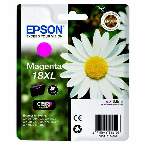 originální Epson T1813XL magenta purpurová červená cartridge originální inkoustová náplň pro tiskárnu Epson Expression Home XP-402