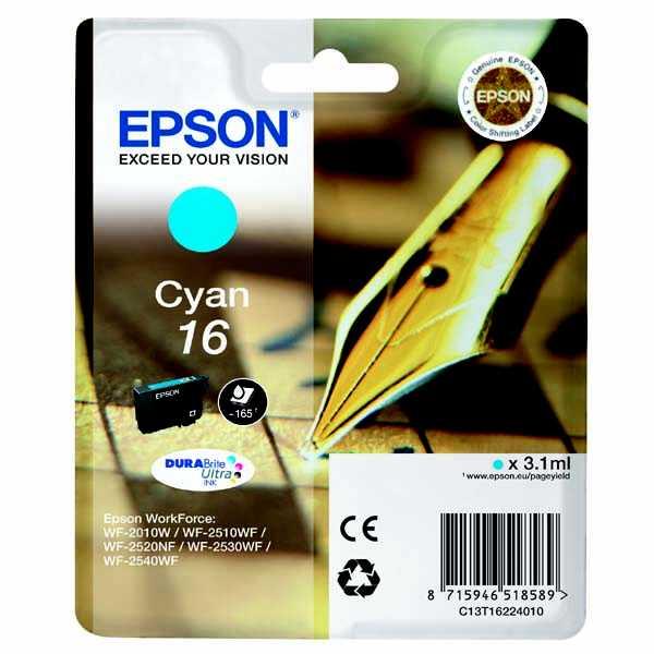 originální Epson T1622 cyan modrá azurová cartridge originální inkoustová náplň pro tiskárnu Epson WorkForce WF-2530WF