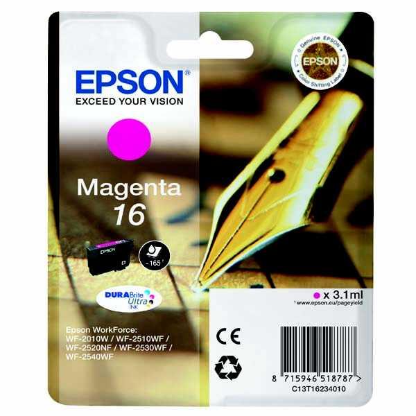 originální Epson T1623 magenta purpurová červená cartridge originální inkoustová náplň pro tiskárnu Epson WorkForce WF-2630WF
