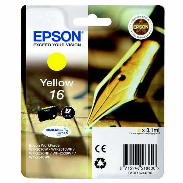 originální Epson T1624 yellow žlutá cartridge originální inkoustová náplň pro tiskárnu Epson WorkForce WF-2530WF