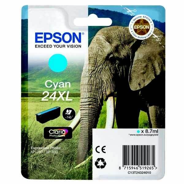 originální Epson T2432 cyan cartridge modrá azurová originální inkoustová náplň pro tiskárnu Epson Expression Photo XP-750