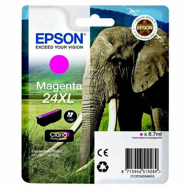 originální Epson T2433 magenta cartridge purpurová červená originální inkoustová náplň do tiskárny Epson Expression Photo XP-850