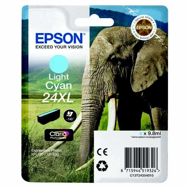 originální Epson T2435 cyan foto cartridge světle modrá azurová originální inkoustová náplň do tiskárny Epson Expression Photo XP-750
