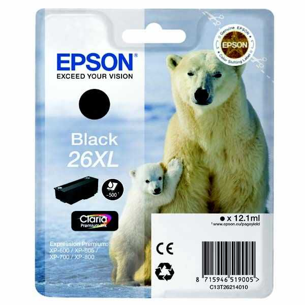 originální Epson T2621 - 26XL black cartridge černá originální inkoustová náplň pro tiskárnu Epson Expression Premium XP-800