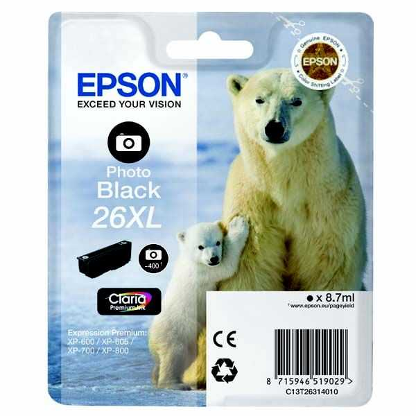 originální Epson T2631 - 26XL black foto cartridge černá foto originální inkoustová náplň pro tiskárnu Epson Expression Premium XP-610