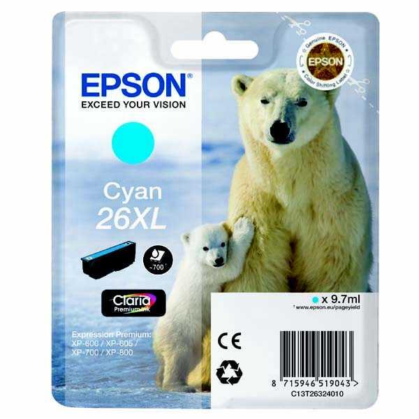 originální Epson T2632 - 26XL cyan cartridge modrá azurová originální inkoustová náplň pro tiskárnu Epson Expression Premium XP-700