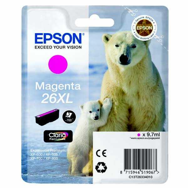 originální Epson T2633 - 26XL magenta cartridge purpurová červená originální inkoustová náplň pro tiskárnu Epson Expression Premium XP-610