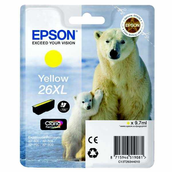originální Epson T2634 - 26XL yellow cartridge žlutá originální inkoustová náplň pro tiskárnu Epson Expression Premium XP-800