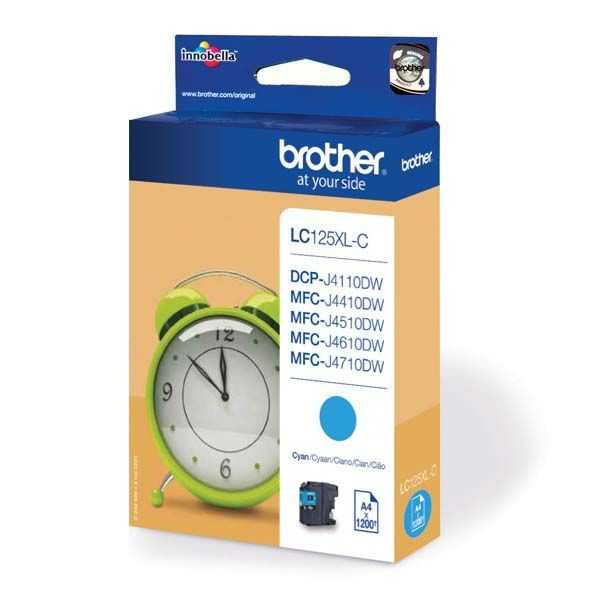 originální Brother LC125XL C cyan cartridge modrá azurová originální inkoustová náplň pro tiskárnu Brother DCP-J4110DW