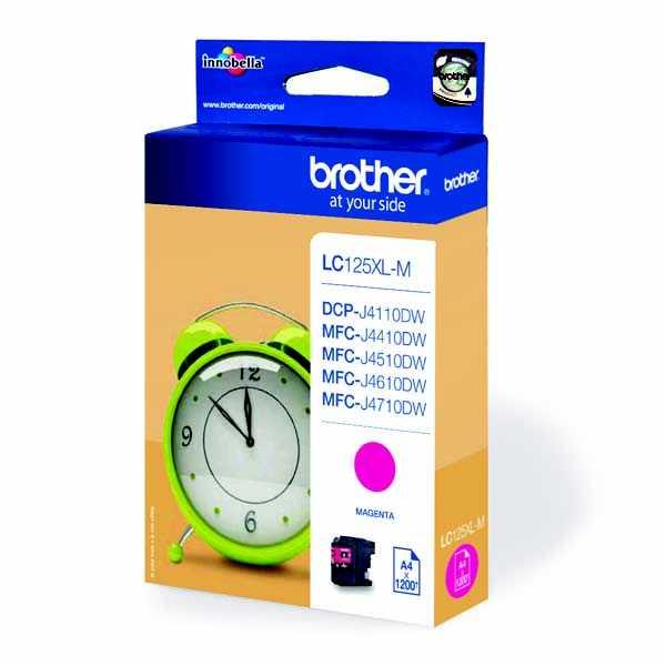 originální Brother LC125XL M magenta cartridge červená purpurová originální inkoustová náplň pro tiskárnu Brother DCP-J4110DW