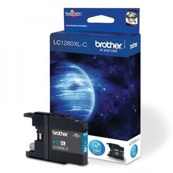 originální Brother LC-1280XLC cyan azurová modrá originální inkoustová cartridge pro tiskárnu Brother MFC-J6510DW