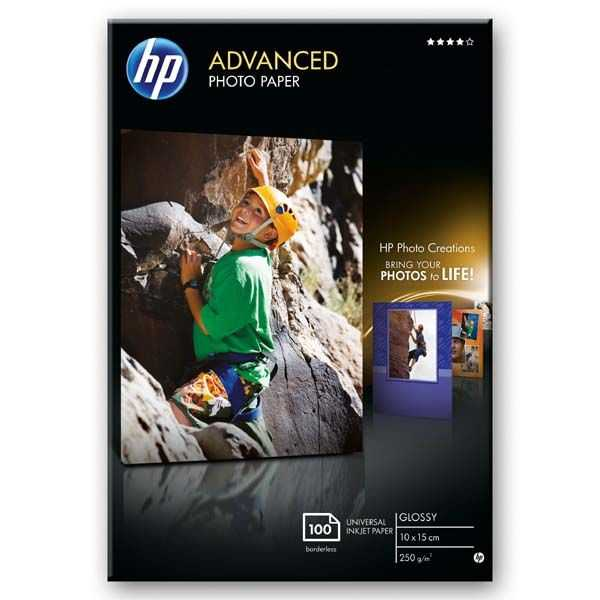HP Advanced Glossy Photo Paper, foto papír, lesklý, zdokonalený, bílý, 10x15cm, 4x6\'\', 250 g/m2, 100 ks, Q8692A, inkoustový, bez okrajů