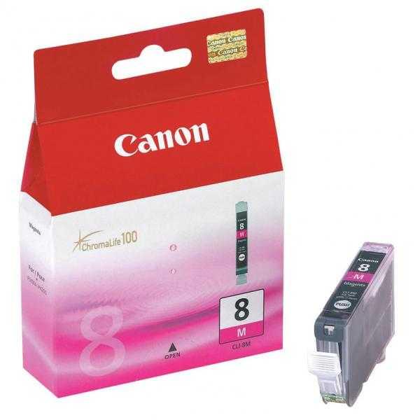 originální Canon CLI-8M magenta cartridge purpurová červená s čipem originální inkoustová náplň pro tiskárnu Canon PIXMA MP600