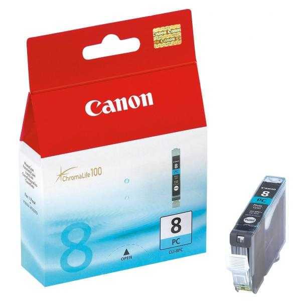 originální Canon CLI-8PC foto cyan cartridge azurová modrá s čipem originální inkoustová náplň pro tiskárnu Canon PIXMA MP970
