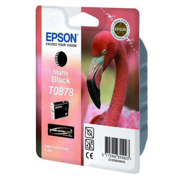 originální Epson T0878 matt black matná černá originální inkoustová cartridge náplň pro tiskárnu Epson Stylus Photo R1900