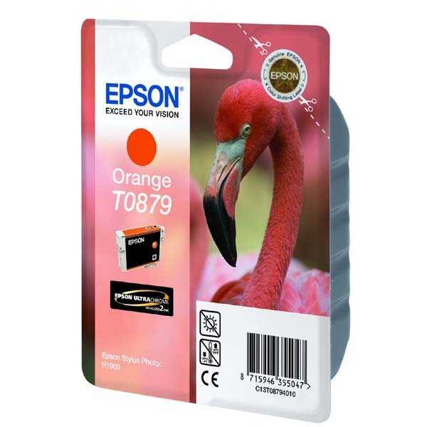 originální Epson T0879 orange oranžová originální inkoustová cartridge náplň pro tiskárnu Epson Stylus Photo R1900