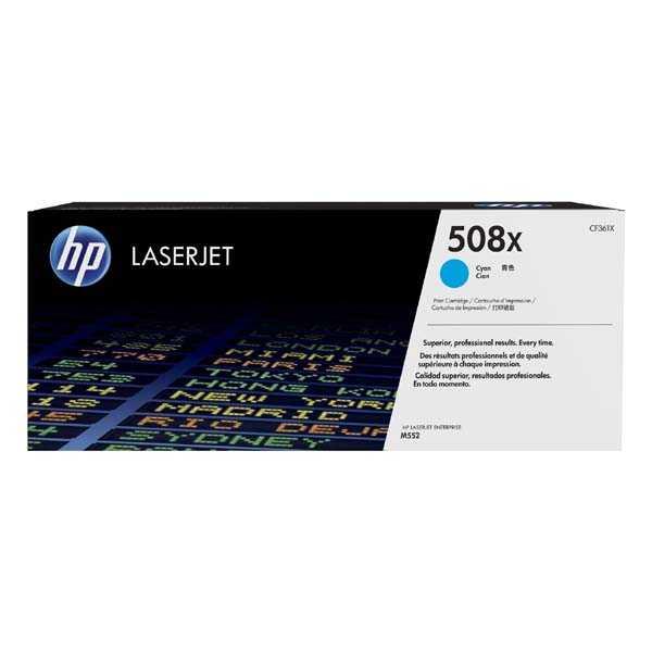 originální toner HP CF361X, HP 508X cyan modrý toner pro tiskárnu HP LaserJet Enterprise M552dn
