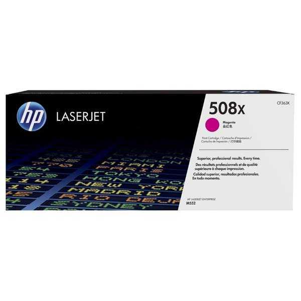 originální toner HP CF363X, HP 508X magenta purpurový toner pro tiskárnu HP LaserJet Enterprise M552dn