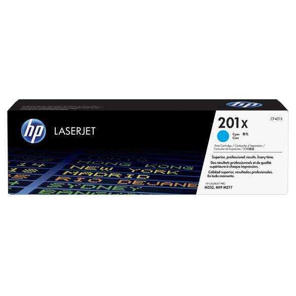 originální toner HP CF401X (HP 201X) 2300 stran cyan modrý toner pro tiskárnu HP LaserJet Pro 200 Color MFP M277dw