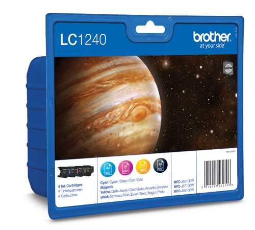originální sada Brother LC-1240VALBP (LC-1240BK, LC-1240C, LC-1240M, LC-1240Y) 4x originální inkoustová cartridge pro tiskárnu Brother MFC-J5910DW