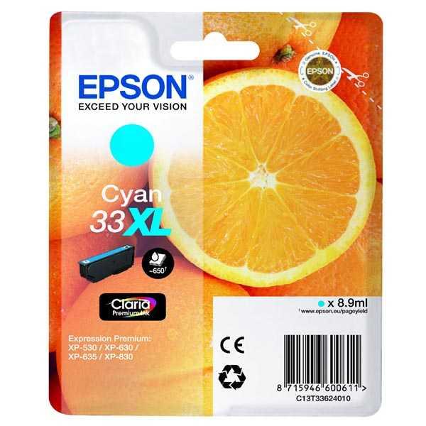 originální Epson 33XL T3362 cyan cartridge modrá azurová inkoustová náplň pro tiskárnu Epson Expression Premium XP-530