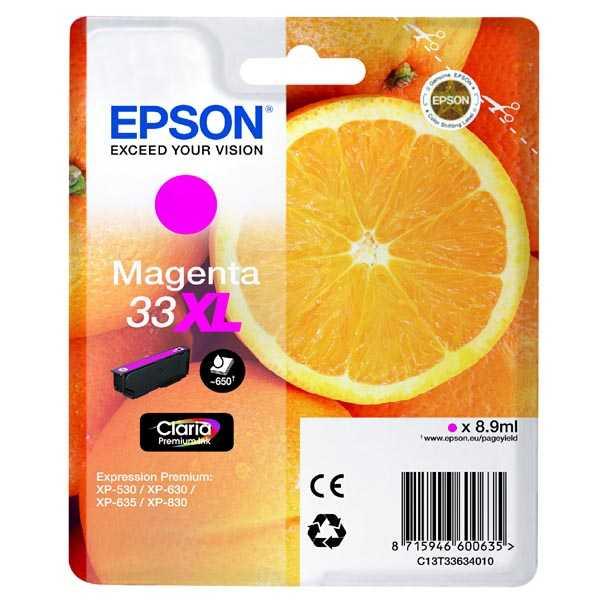 originální Epson 33XL T3363 magenta cartridge purpurová kompatibilní inkoustová náplň pro tiskárnu Epson Expression Premium XP-530