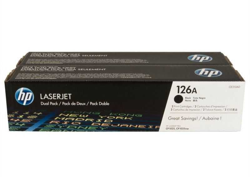 originální toner HP CE310AD dual pack (HP 126A) 2x black černý originální toner pro tiskárnu HP LaserJet Pro 100 Color MFP M175A
