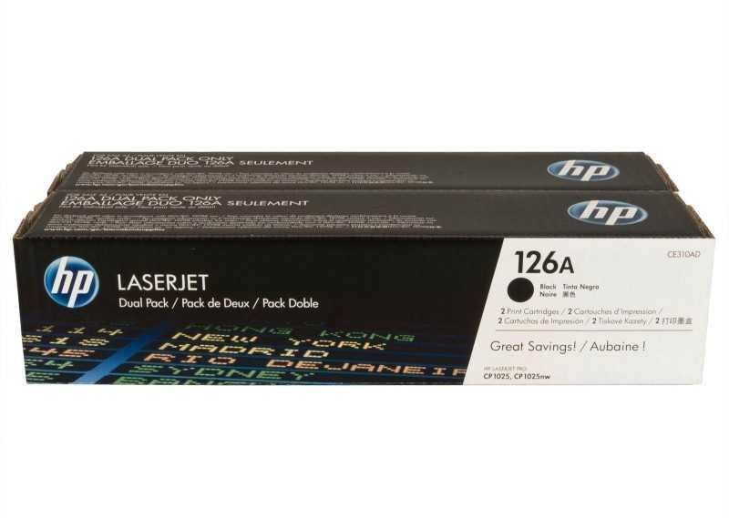 originální toner HP CE310AD dual pack (HP 126A) 2x black černý originální toner pro tiskárnu HP LaserJet Pro 100 Color MFP M175NW