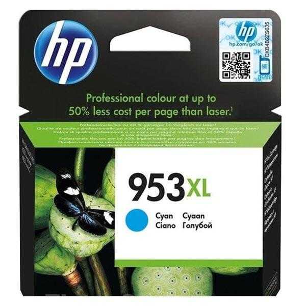 originální HP 953XL (F6U16AE) cyan azurová modrá originální inkoustová cartridge pro tiskárnu HP OfficeJet Pro 8630