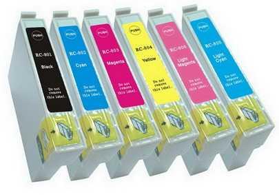 sada Epson T0807 (T0801, T0802, T0803, T0804, T0805, T0806) kompatibilní cartridge, inkoust pro tiskárnu Epson Stylus Photo PX730WD