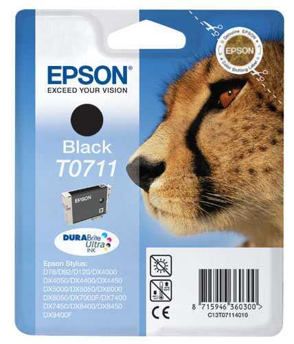 originální Epson T0711 black cartridge černá originální inkoustová náplň pro tiskárnu Epson Stylus DX8400