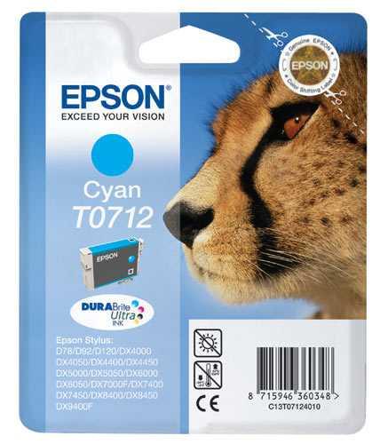 originální Epson T0712 cartridge cyan modrá originální inkoustová náplň pro tiskárnu Epson Stylus DX7450