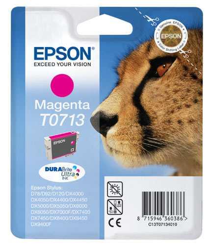 originální Epson T0713 cartridge magenta purpurová originální inkoustová náplň pro tiskárnu Epson Stylus DX7450