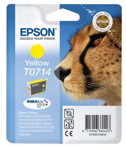 originální Epson T0714 cartridge yellow žlutá originální inkoustová náplň pro tiskárnu Epson Stylus DX7450
