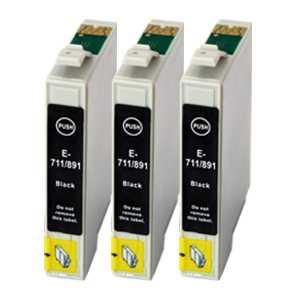 sada Epson 3x T0711 - 3 kusy black cartridge černé kompatibilní inkoustové náplně pro tiskárnu Epson Stylus DX8400