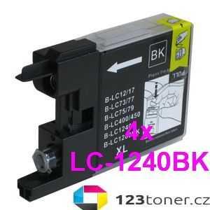 4x Brother LC-1240BK black černá kompatibilní inkoustová cartridge pro tiskárnu Brother DCP-J925DW