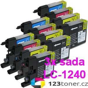 3x sada Brother LC-1240 (LC-1240BK, LC-1240C, LC-1240M, LC-1240Y) 4x kompatibilní inkoustová cartridge pro tiskárnu Brother MFC-J5910DW