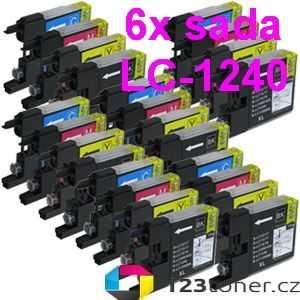 6x sada Brother LC-1240 (LC-1240BK, LC-1240C, LC-1240M, LC-1240Y) 4x kompatibilní inkoustová cartridge pro tiskárnu Brother MFC-J5910DW