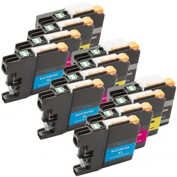 3x multipack kompatibilní sada s Brother LC125XL (C, M, Y) + LC127XL BK cartridge kompatibilní inkoustové náplně pro tiskárnu Brother DCP-J4110DW