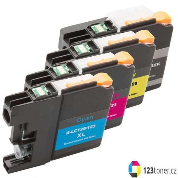 multipack kompatibilní sada s Brother LC125XL (C, M, Y) + LC127XL BK cartridge kompatibilní inkoustové náplně pro tiskárnu Brother DCP-J4110DW