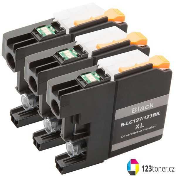 3x cartridge Brother LC127XL BK black cartridge černá kompatibilní inkoustová náplň pro tiskárnu Brother DCP-J4110DW