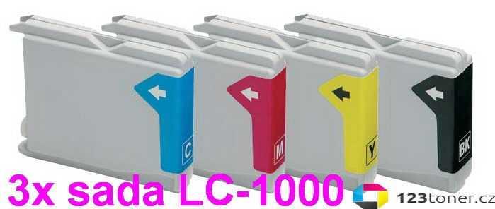 3x sada Brother LC970/LC1000 cartridge kompatibilní inkoustová náplň pro tiskárnu Brother DCP-130C