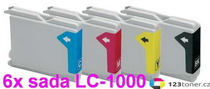 6x sada Brother LC970/LC1000 cartridge kompatibilní inkoustová náplň pro tiskárnu Brother MFC-680CN