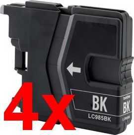 4x Brother LC985bk black cartridge černá kompatibilní inkoustová náplň pro tiskárnu Brother MFC-J415W