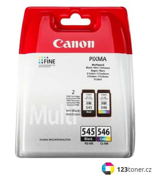originální multipack Canon PG-545 + CL-546 black + color cartridge černá a barevná inkoustová náplň pro tiskárnu Canon Pixma MG2555