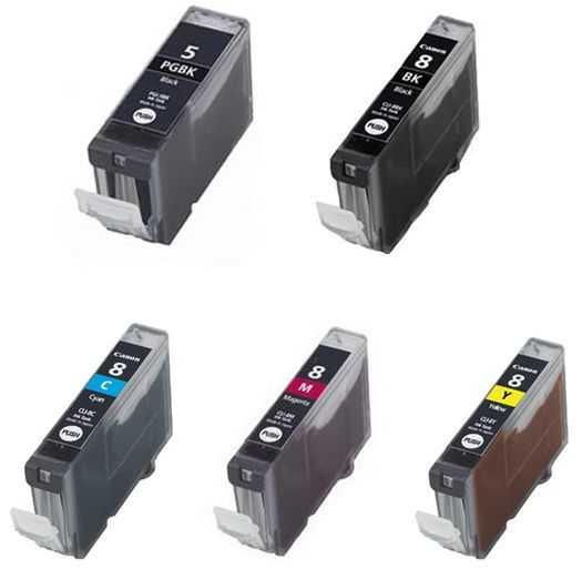 Sada Canon PGI-5Bk CLI-8 BK,C,M,Y kompatibilní - 5 kusů inkoustových kazet s čipem pro tiskárnu Canon PIXMA MP600