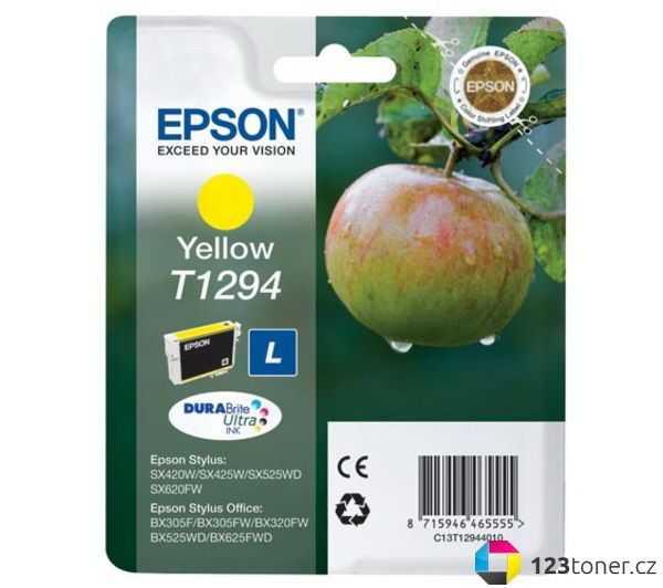 originální Epson T1294 yellow cartridge žlutá originální inkoustová náplň pro tiskárnu Epson Stylus SX435W