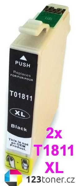 2x kompatibilní s Epson T1811XL black cartridge černá kompatibilní inkoustová náplň pro tiskárnu Epson Expression Home XP-302